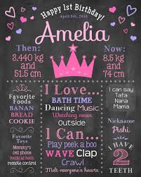 Princess First Birthday Chalkboard Sign Pink Purple Hearts