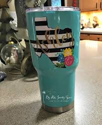 Black And White Striped Texas Decal W Name And Flower Swag Yeti Decal Flowers Name Decal Girly Decal Yeti Cup Designs Decals For Yeti Cups Cup Decal