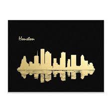 Houston City Skyline Gold Print Real Gold Foil Print Houston City Wall Art Paper City Silver Foil Printing