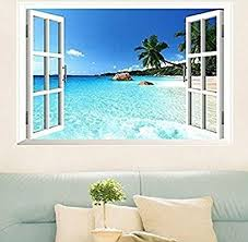 Amazon Com Large Removable Beach Sea 3d Window Decal Wall Sticker Home Decor Exotic Beach View Art Wallpaper Mural Home Kitchen