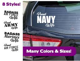 Military Wife Car Window Decal Proud Military Wife Car Etsy In 2020 Rear Window Decals Window Decals Car