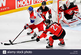 Bratislava, Slovakia. 25th May, 2019. From left Czech DMITRIJ JASKIN and  DAMON SEVERSON, SAM REINHART, MATT MURRAY, all of Canada, in action during  the Ice Hockey World Championships semifinal match between Czech