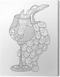 Canvas Wijn Glas Met Druiven Kleurplaat Voor Volwassenen In