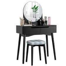 costway 2 drawer black vanity table set