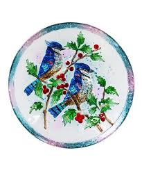 evergreen blue glass bird bath zulily