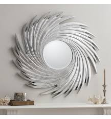large round silver swirl frame mirror