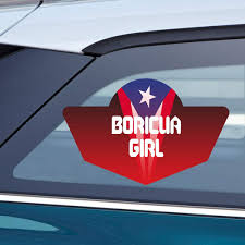 Amazon Com Makoroni Boricua Girl Puerto Rican Puerto Rico Flag Car Laptop Wall Sticker Decal 6 By 4 Inc Automotive