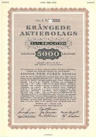 Krångede AB 3 3/4 % Obligation scripofili kanal samlare skatt ...