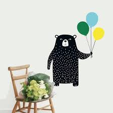 Cute Bear And Balloons Wall Decal Nursery Art Decor Vinyl Wall Sticker For Kids Room Nordic Decoration Sticker For Kids Room Vinyl Wall Stickerswall Stickers For Kids Aliexpress