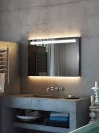 argent wide led light bathroom mirror