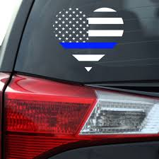 Back The Blue Flag Heart Decal Southern Caliber Decals