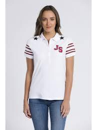 Buy Jimmy Sanders Women's Fashion T-Shirt Stylish Simple Elegant Short  Sleeve Polo T-Shirt JSSDRW8024 WHITE & Tee - at J