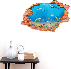Amazon Com Bibitime Tropical Fish Shark Break Through Wall Stickers Home Art 3d Underwater World Wall Decal Vinyl Decor For Nursery Bedroom 34 25 X 22 04 Arts Crafts Sewing