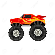 Flat Vector Icon Of Red Monster Truck With Yellow Orange Flame Royalty Free Cliparts Vectors And Stock Illustration Image 105625307