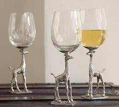 giraffe wine glass set of 2 pottery barn