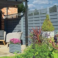 Rowlinson 6 X 6 Sorrento Grey Fence Panel With Slatted Top 1 8m X 1 8m Shedstore