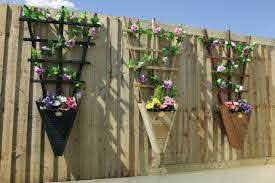 Hanging Planter With Trellis Fence Wooden Flower Pot Climber