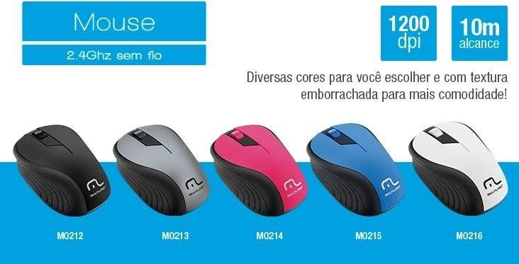 """Resultado de imagem para Mouse sem Fio 2.4GHz Preto e Azul Usb Multilaser MO215"""""""