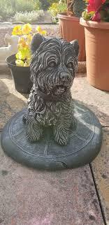 garden ornament westie dog in