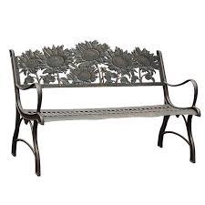 painted sky cast iron garden bench