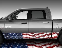 American Flag Waving Rocker Panel Wrap Graphic Decal Wrap Truck Kit 2