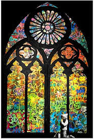 Amazon Com Alonline Art Stained Glass Window Church Cathedral By Banksy Print On Wall Sticker Vinyl Decal Rolled 32 X20 81x51cm Wall Art Home Decor For Nursery Or For
