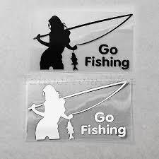 1pcs Sexy Women Go Fishing Sports Body Car Window Vinyl Reflective Decal Sticker Ebay