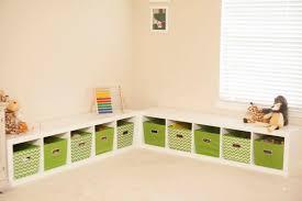 Modern Kids Room Corner Toy Storage Bench White Wood Decoratorist 206065