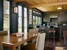 light wood ceiling with dark floors and