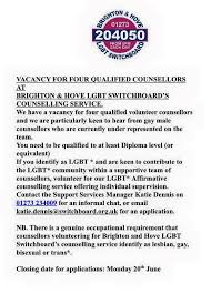 Volunteer LGBT Counsellors wanted at... - Sonia Dixon - Counsellor Brighton  | Facebook