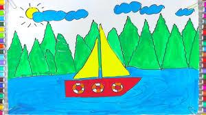 Bé Tô Màu Thuyền Buồm - Dạy Bé Tô Màu Chiếc Thuyền Trên Biển, bé ...