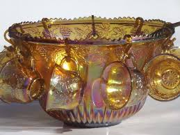 antique carnival glass punch bowl set