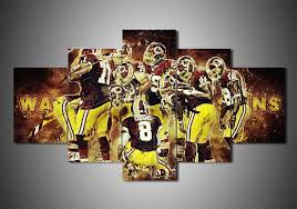 Washington Redskins Framed Canvas Five Piece Wall Art 5 Panel Home Decor
