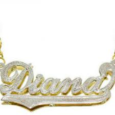 personalized 3d style name necklace 14k