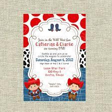 Twins Birthday Cowboy Cowgirl Boy Invitation Western Baby Shower