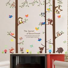 Cartoon Animals On Big Tree Wall Stickers The Secret Of Forest Wallpaper Poster Art Kids Room Nursery Wallpaper Poster Home Decoration Decal Nursery Stickers Nursery Wall Decal From Magicforwall 8 8 Dhgate Com