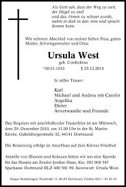 Traueranzeigen von Ursula West | WAZ.Trauer.de