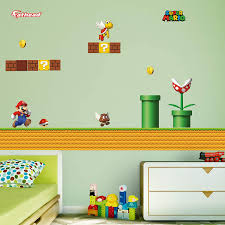 Amazon Com Fathead Super Mario Theme Giant Officially Licensed Nintendo Removable Graphics Wall Decal Home Kitchen