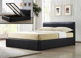 brown faux leather ottoman bed
