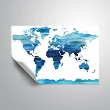 Wrought Studio Gillham Ice Blue Watercolorr World Map Removable Wall Decal Wayfair