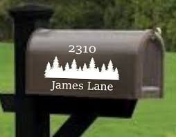 Mailbox Decal Address Decal Mailbox Numbers Mailbox Stickers Mailbox Lettering Mailbox Design With Trees