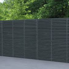 Forest 6 X 6 Contemporary Grey Double Slatted Fence Panel 1 8m X 1 8m B M