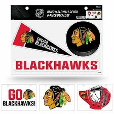 Chicago Nhl Blackhawks Set Of 6 Removable Wall Decal Stickers Ebay