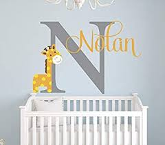 Amazon Com Name Wall Decal Giraffe Wall Decal Giraffe Baby Boy Room Decor Safari Wall Decal Nursery Wall Decal 22 W X 16 H Kitchen Dining