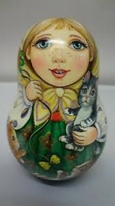 "Author's Belarusian matryoshka Rolly Polly Bell Doll ""Girl with kittens"". 