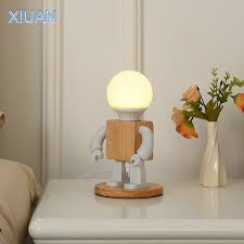 Creative Robot Table Light Nordic Modern White Wood Table Lamp Led Kids Baby Girl Boy Children Bedroom Bedside Mini Night Lights