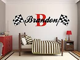 Amazon Com Custom Name Racing Monogram Wall Decal Boys Nursery Room Vinyl Wall Graphics Bedroom Decor 10 Tall Baby