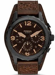 fossil leather cuff watch
