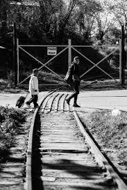 Free Images : black and white, track, bridge, train, season, black ...
