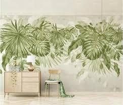 Watercolor Fresh Green Leaves Wall Mural Gallery Wallrus Free Worldwide Shipping